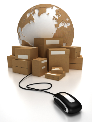 The world with a heap of packages connected to a mouse